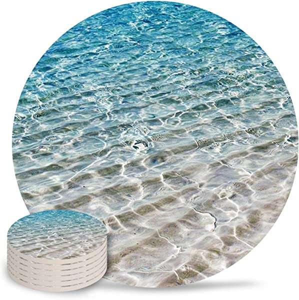 Cloud Dream Home Stone Ceramic Coasters Set Of 6 Beautiful Clear Sea Sand Absorbent Drink Coaster With Cork Base Beach Themed Suitable For Kinds Of Mugs And Cups