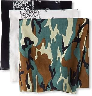 Levi's Men's 3 Pack 100% Cotton Multi-Purpose Bandana Gift Sets – Headband, Face Mask,Wrap, Black, White, Camo, One Size