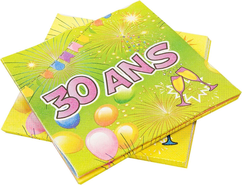 COOLMP – Set di 12 – 20 tovaglioli di autota 30 Anni Compleanno Fiesta 33 cm – Taglia Unica – Decorazione Accessori per Feste, Animazione, Compleanno, Matrimonio, Eventi, Giocattoli, Ptuttioncino