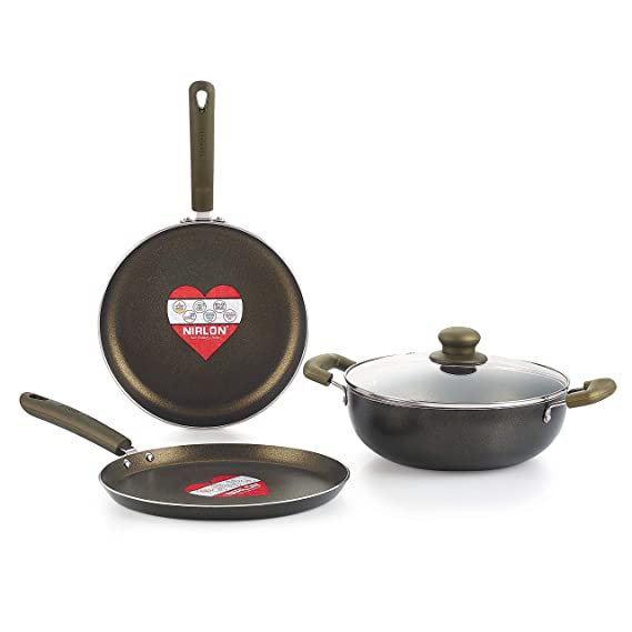 Nirlon Gold Rush Cookware Set, 4 Pieces Pot   Pan Sets