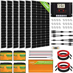 ECO-WORTHY 1200 Watt 24V Solar Power System Kit with Li-Battery and Inverter for Shed/Home: 6pcs 195W Solar Panels+ 4pcs 50Ah Lithium Battery+ 3500W 24V Solar Inverter+ 60A Solar Charge Controller