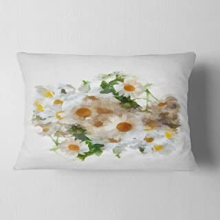 Designart Bunch of White Chamomiles Watercolor' Flower Throw Lumbar Cushion Pillow Cover for Living Room, sofa, 12 in. x 2...