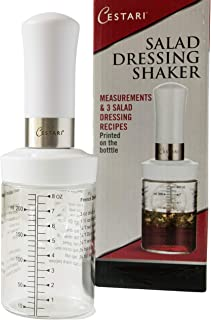 Salad Dressing Shaker: Premium Borosilicate Glass Bottle with Mixer Insert • Leak Proof Salad Dressing Blender and Dispens...