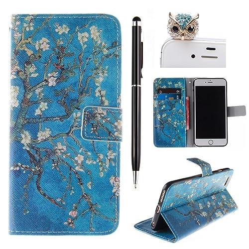 iPhone 5S Wallet Case - Felfy iPhone 5/5S Vintage Floral Blue Trees Design PU Leather Flip Protective Case Cover +1x Blue Owl Dust Plug +1x Black Stylus