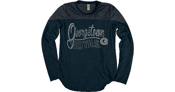 NCAA Georgetown Hoyas Adult Women NCAA Womens Dyed Long Sleeve Yoke Tee,Large,Indigo