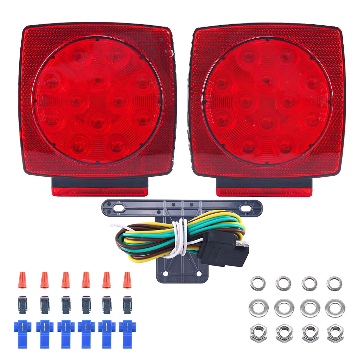 DasMarine 2PCS 12V LED Submersible Trailer Tail Light Kit Stop Tail Turn Signal Lights IP68 for Over 80 Inch Boat Trailer Truck RV Snowmobile with Trailer License Plate Bracket (With Hardware Kit)