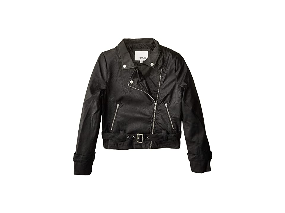 Maddie by Maddie Ziegler Pleather Moto Jacket (Big Kids) (Black) Girl