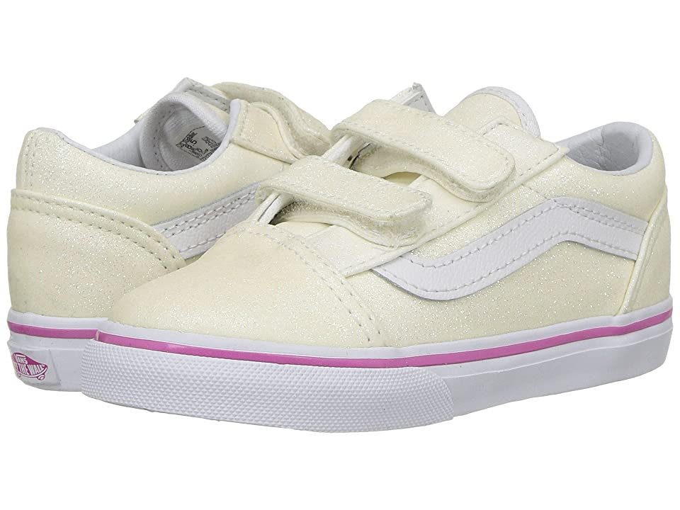 Vans Kids Old Skool V (Toddler) ((Glitter) Rainbow White) Girls Shoes