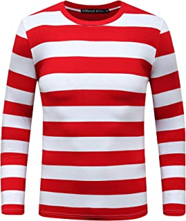 OThread & Co. Men's Long Sleeve Striped T-Shirt Basic Cotton Crew Neck Shirts