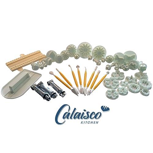 Calaisco Kitchen – Juego de 20 piezas de Fondant con cortador, herramientas de modelado más