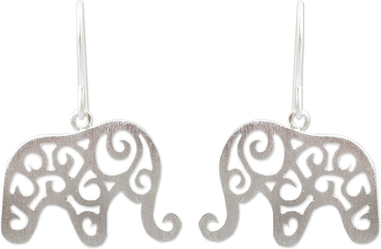 [Alternative dealer] NOVICA .925 Sterling Silver 'Elephant Free shipping anywhere in the nation Dangle Arabesque' Earrings