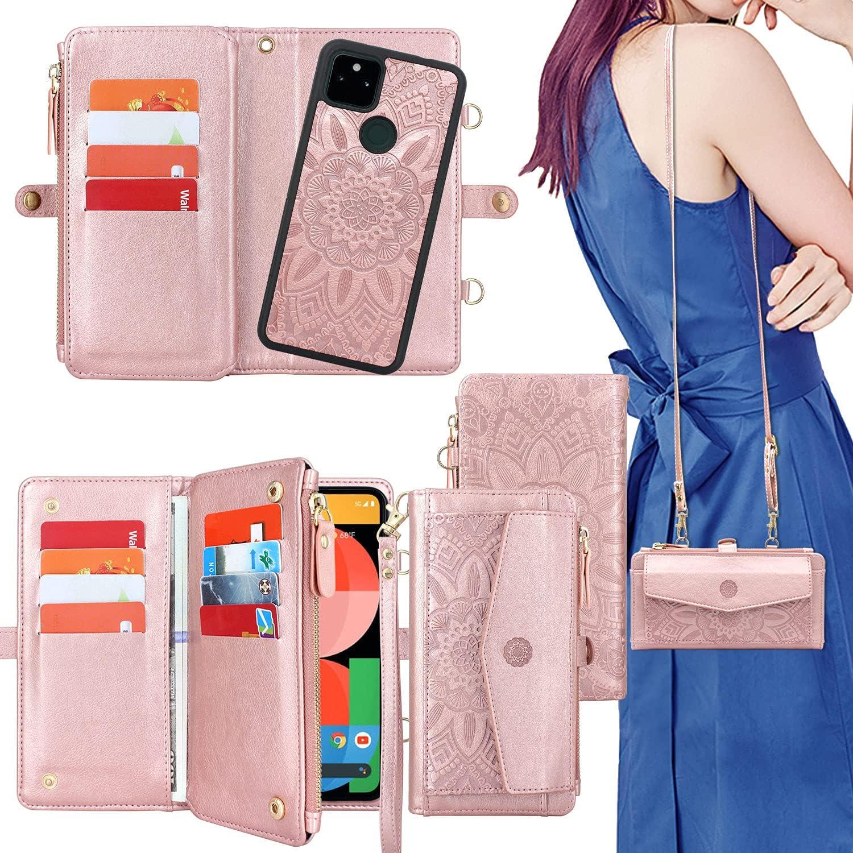 Harryshell [12 Card Slots] [Block Theft Card Scanning], Detachable Magnet Wallet Case Cover Cash Bill Zipper Pocket Crossbody Lanyard Strap for Google Pixel 5A 5G (2021) (Floral Rose Gold)