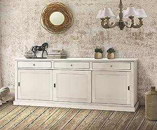 InHouse Srls - Aparador de 3 puertas arte pobre de madera maciza y MDF con acabado en blanco mate medidas 200 x 50 x 90 cm