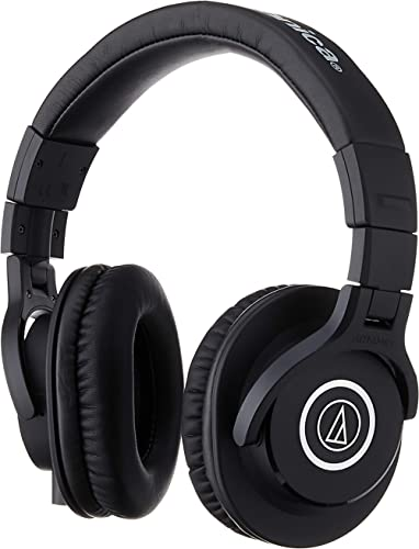 Audio-Technica ATH-M40x Professional Studio Monitor Headphone, Black, with Cutting Edge Engineering, 90 Degree Swivel...