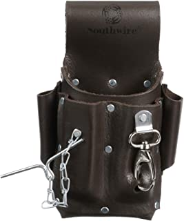 Southwire Tools & Equipment POUCH4 Leather Tool Pouch, 5 Pocket Pouch with Electrical Tape Chain, Fade Resistant, Durable ...