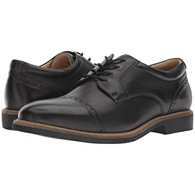 Johnston & Murphy Barlow Casual Dress Cap Toe Oxford (Black Soft Full Grain) Men