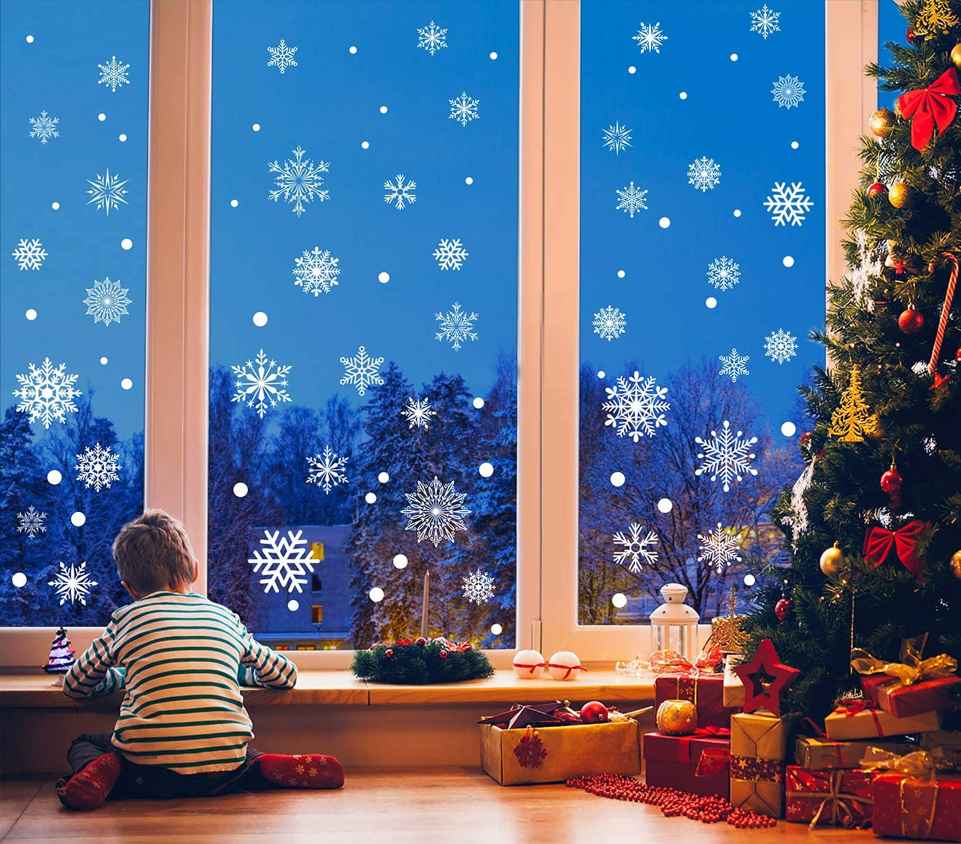 273pcs Daily bargain sale Christmas Snowflake Seasonal Wrap Introduction Window White Clings Decals Snowflakes