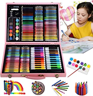 KINSPORY Portable 162pc Inspiration & Creativity Coloring Art Set Kids Painting & Drawing Supplies, Pink
