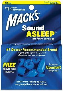 Mack's Sound Asleep Soft Foam Earplugs, 12 Pair – 32dB High NRR, Comfortable Ear Plugs for Sleeping, Snoring, Travel and N...