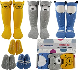 Tiny Captain Baby Girl Knee High Socks 8-24 Months Best Toddler Gift For 1-3 Year Old Girls Long Cotton Sock (Yellow, Blue, Grey, Small)