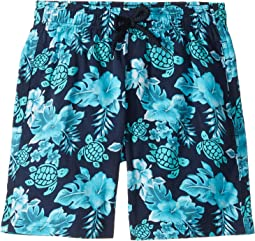 Jirise Turtles Flowers Superflex Swim Trunk (Toddler/Little Kids/Big Kids)