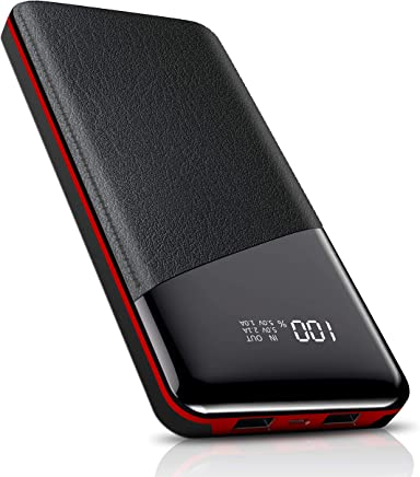 Power Bank 25000mAh-High Capacity Todamay Portable Charger with LCD Digital Display, 2 USB Output, External Battery Pack for All The Smart Phone, Tablets, Bluetooth Device and Others, Red