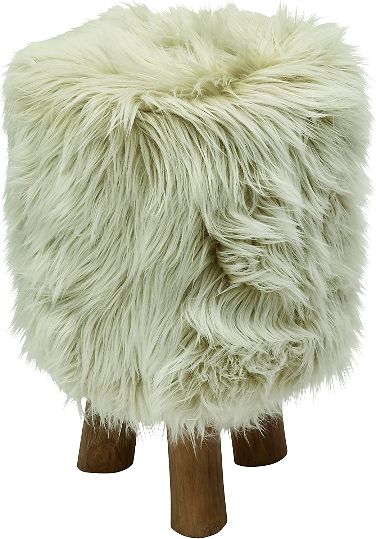 Benzara 50830 Wood Faux Fur Round Stool, 13  x 19 , Beige