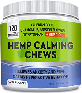 GOODGROWLIES Calming Hemp Treats for Dogs - Made in USA with Hemp Oil - Anxiety Relief - Separation Aid - Stress Relief During Fireworks, Storms, Thunder - Aggressive Behavior, Barking - 120 Chews