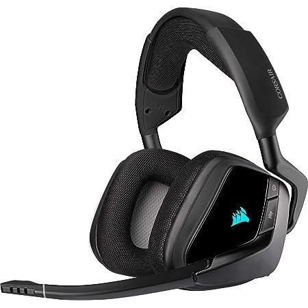Corsair VOID ELITE RGB Wireless Auriculares para Juegos (7.1 Sonido envolvente, Inalámbrico de 2.4 GHz de baja latencia, 12 m de alcance, Personalizable Iluminación, Compatible con PC, PS4) Negro