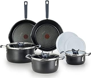 T-fal B210SA One Stackables Titanium Nonstick 10 Pieces Cookware Set, Multifunctional, Dishwasher Safe, Black