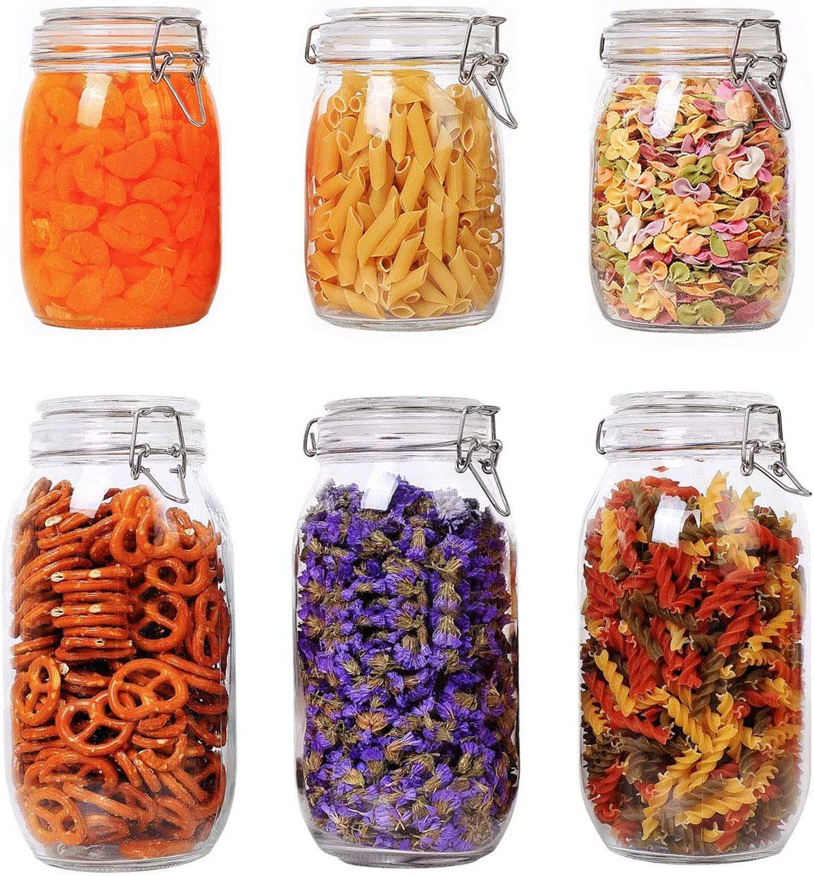 ComSaf Direct store Airtight Glass Canister Set of 6 Food 5 ☆ popular Storage Round Jar -