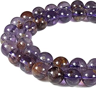 [ABCgems] Extremely Rare Brazilian Super Seven AKA Cacoxenite (Combination: Amethyst, Lepidocrocite, Goethite, Cacoxenite, Rutile, Smoky Quartz & Crystal Quartz) 12mm Round Beads for Jewelry Making