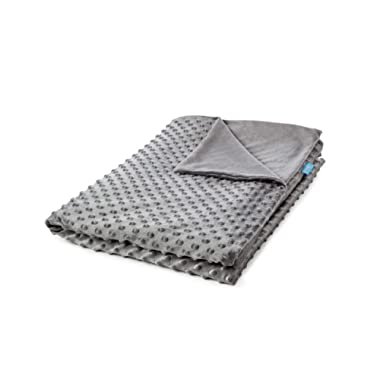 Snuggle Pro Weighted Blanket Reversible Duvet Cover | Twin Size 48 x72  | Minky Plush Dot Fabric | Machine Washable | Comfortable, Breathable, Durable | Grey