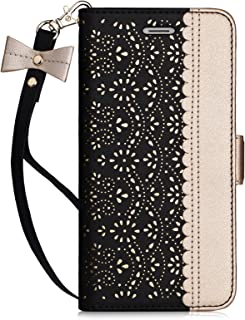 Homelove WWW iPhone 6S Case, iPhone 6 Case, [Luxurious Romantic Carved Flower] Leather Wallet Case with [Inside Makeup Mirror] and [Kickstand Feature] for Apple iPhone 6/6S Black