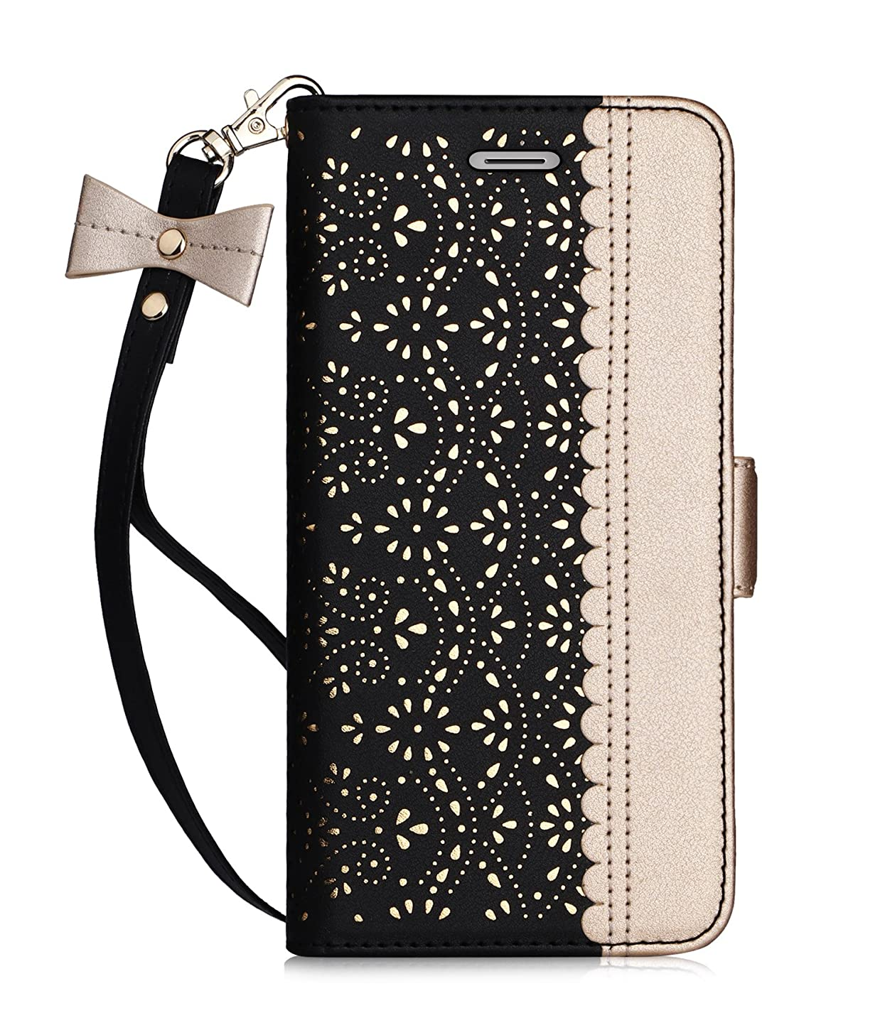 WWW iPhone 6S Plus Case, iPhone 6 Plus Case, [Luxurious Romantic Carved Flower] Leather Wallet Case with [Inside Makeup Mirror] and [Kickstand Feature] for Apple iPhone 6/6S Plus Black
