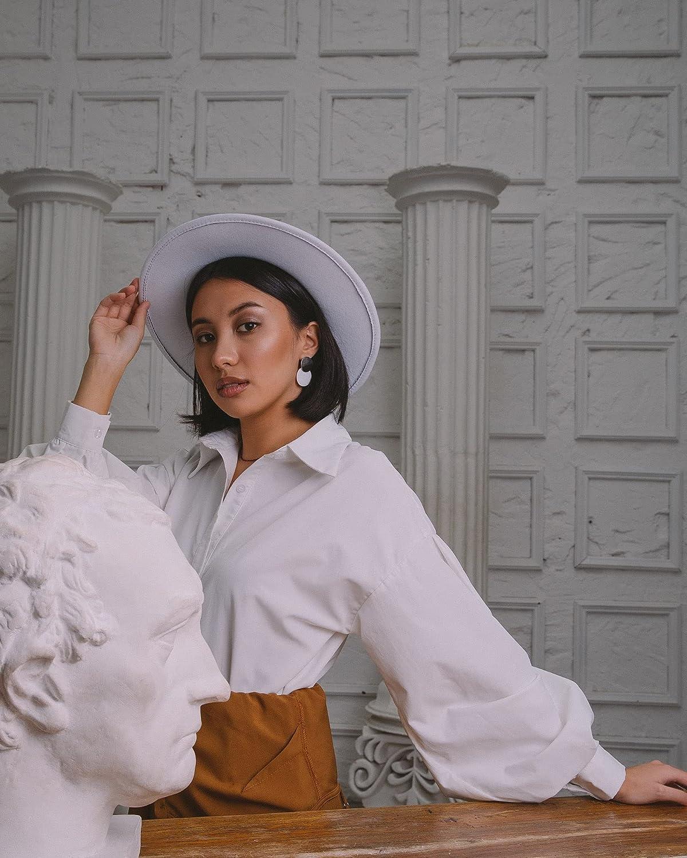 Women Trendy Fedora-Hat Wide Brim Felt Panama Classic Hat with Pearl Band