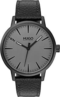 HUGO by Hugo Boss Men's Stainless Steel Quartz Watch with Leather Strap, Black, 20 (Model: 1530074)