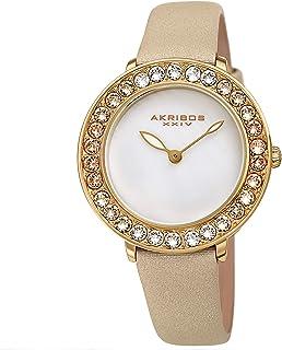 Akribos Dazzling Colorful Swarovski Crystal Women's Watch - Stylish Ladies Watch with Comfortable Genuine Satin Over Leath...