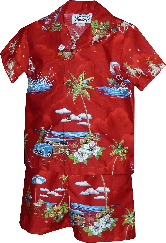 Pacific Legend Boys Santa's Xmas Hawaiian Vacation 2pc Set