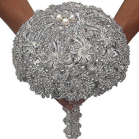 Extra Large Brooch Bouquet Supplies Crystal Rhinestone Drop Brooch Wedding Gift Bouquet Silver DIY Cake Embellishment AE108