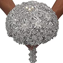 DOTKV SP031 Silver Luxury Artifical Diamond Set for Bride, Bridegroom,Including Bouquets, Wrist Flowers,Corsage for Your Wedding with Full Hand-Made