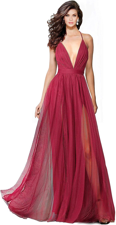 Alluring deep v-Neckline Spaghetti Straps Criss-Cross Open Back Tulle Dual Front Slits Evening Prom Formal Dress