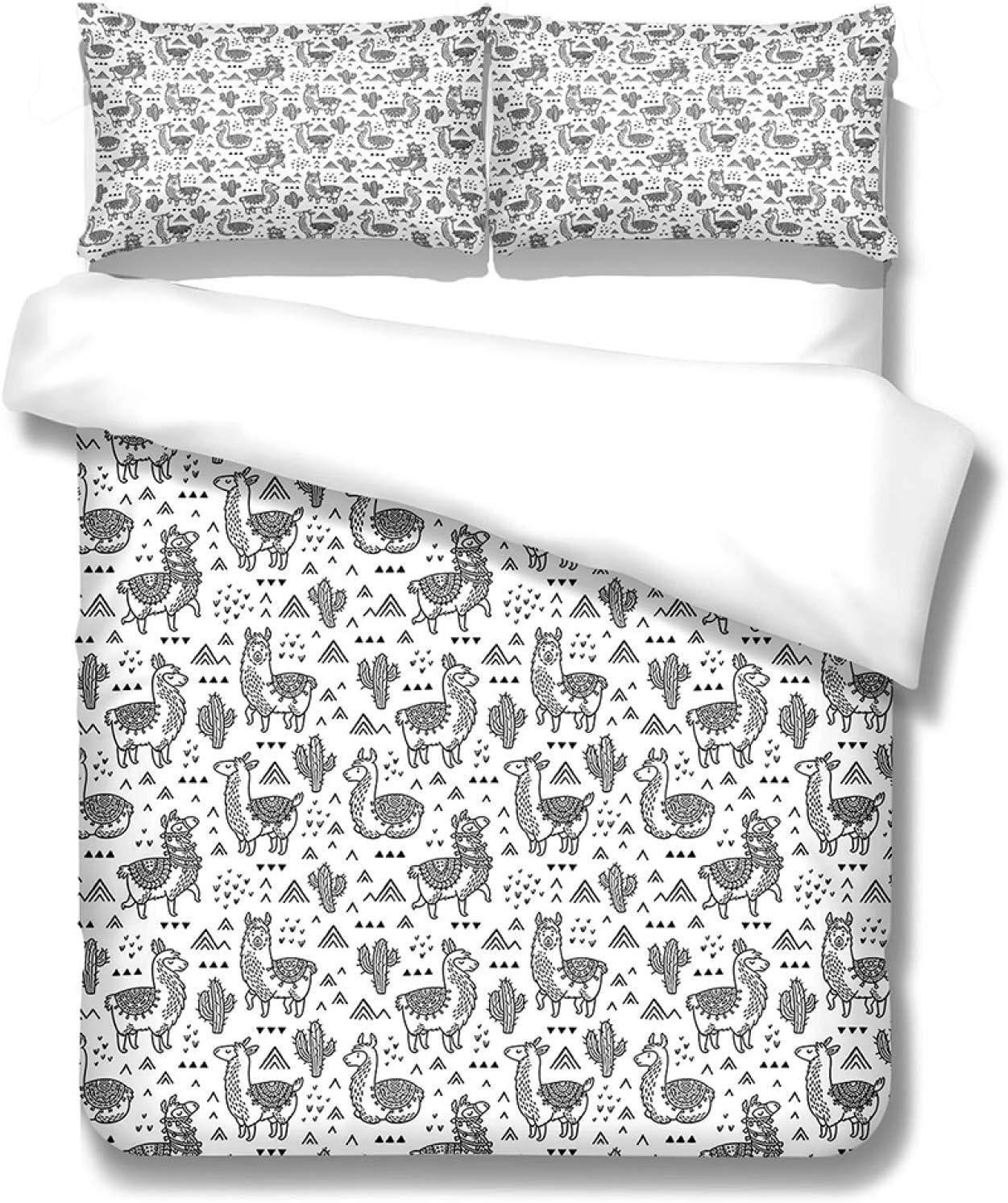 YUEKDA 3D Duvet Cover 3 Pieces Max 88% OFF Sheep Printed Max 86% OFF Bedd Animal Cartoon