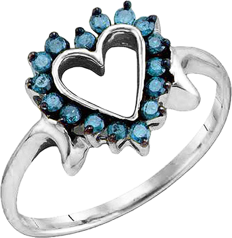 Dazzlingrock Collection 0.25 Carat (ctw) Round Blue Diamond Ladies Promise Heart Engagement Ring 1/4 CT, 18K Gold