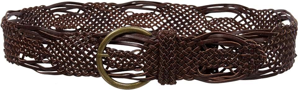 """Women's 2"""" Wide Round Braided Wooden Leather Belt"""