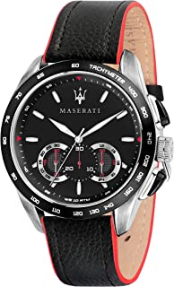 MASERATI Men's TRAGUARDO Stainless Steel Quartz Leather Calfskin Strap, Black, 22 Casual Watch (Model: R8871612028)