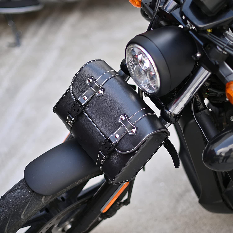 Sresk Universal Max 46% OFF PU Leather Motorcycle Handle Bag Fork Finally popular brand Saddlebags