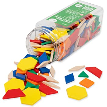 Edx Education Plastic Pattern Blocks - in Home Learning Manipulative for Early Geometry - Set of 250 - Shape Recognition, Symmetry, Patterning and Fractions - Ages 4+