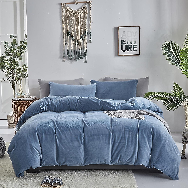 店舗 Karever 最新 Blue Velvet Duvet Cover Queen Set Flannel Ink Comfo