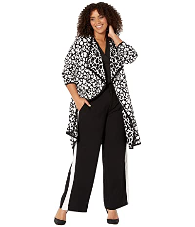 Vince Camuto Specialty Size Plus Size Long Sleeve Cheetah Open Front Maxi Cardigan (Rich Black) Women